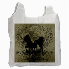 Wonderful Black Horses, With Floral Elements, Silhouette Recycle Bag (One Side)
