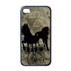 Wonderful Black Horses, With Floral Elements, Silhouette Apple iPhone 4 Case (Black)