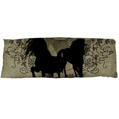 Wonderful Black Horses, With Floral Elements, Silhouette Body Pillow Case Dakimakura (Two Sides)
