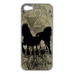 Wonderful Black Horses, With Floral Elements, Silhouette Apple iPhone 5 Case (Silver)