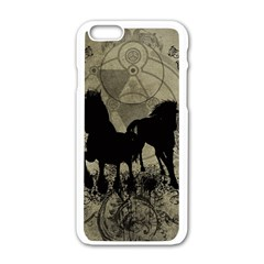 Wonderful Black Horses, With Floral Elements, Silhouette Apple iPhone 6/6S White Enamel Case