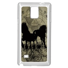 Wonderful Black Horses, With Floral Elements, Silhouette Samsung Galaxy Note 4 Case (white)