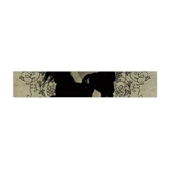 Wonderful Black Horses, With Floral Elements, Silhouette Flano Scarf (Mini)