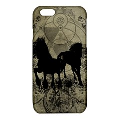 Wonderful Black Horses, With Floral Elements, Silhouette iPhone 6/6S TPU Case