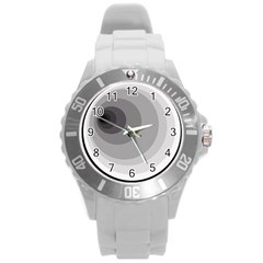 Gray abstraction Round Plastic Sport Watch (L)