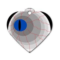Blue eye Dog Tag Heart (One Side)