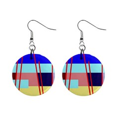 Abstract landscape Mini Button Earrings