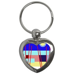 Abstract landscape Key Chains (Heart)