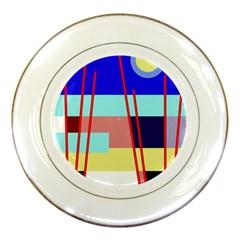 Abstract landscape Porcelain Plates