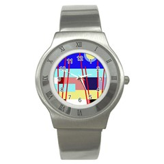 Abstract landscape Stainless Steel Watch