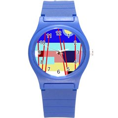 Abstract landscape Round Plastic Sport Watch (S)