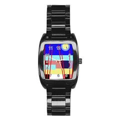 Abstract landscape Stainless Steel Barrel Watch