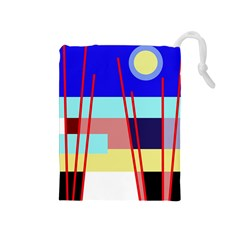 Abstract landscape Drawstring Pouches (Medium)