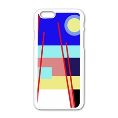 Abstract landscape Apple iPhone 6/6S White Enamel Case