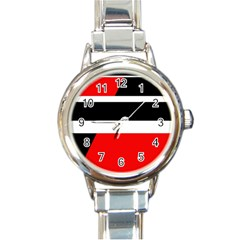 Red, white and black abstraction Round Italian Charm Watch