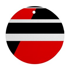 Red, white and black abstraction Ornament (Round)