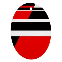 Red, white and black abstraction Ornament (Oval)