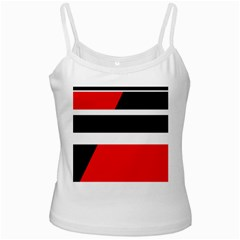 Red, white and black abstraction White Spaghetti Tank