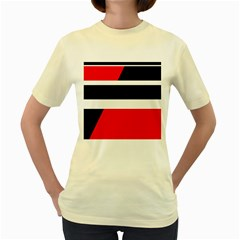 Red, white and black abstraction Women s Yellow T-Shirt