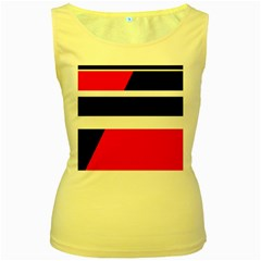 Red, white and black abstraction Women s Yellow Tank Top