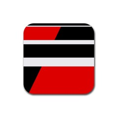 Red, white and black abstraction Rubber Coaster (Square)