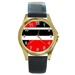 Red, white and black abstraction Round Gold Metal Watch