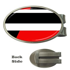 Red, white and black abstraction Money Clips (Oval)