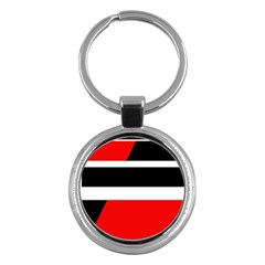 Red, white and black abstraction Key Chains (Round)