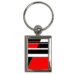 Red, white and black abstraction Key Chains (Rectangle)