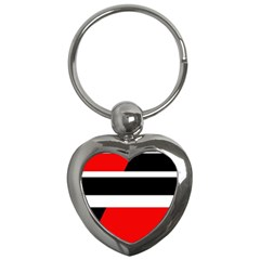 Red, white and black abstraction Key Chains (Heart)