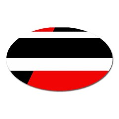 Red, white and black abstraction Oval Magnet
