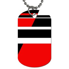 Red, white and black abstraction Dog Tag (Two Sides)
