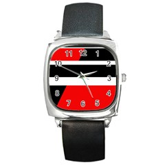 Red, white and black abstraction Square Metal Watch