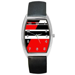 Red, white and black abstraction Barrel Style Metal Watch