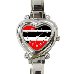 Red, white and black abstraction Heart Italian Charm Watch