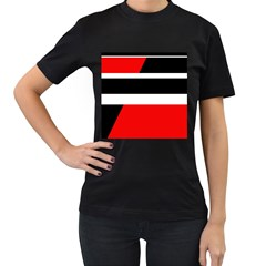 Red, white and black abstraction Women s T-Shirt (Black) (Two Sided)