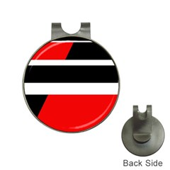 Red, white and black abstraction Hat Clips with Golf Markers