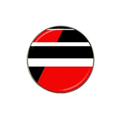 Red, white and black abstraction Hat Clip Ball Marker