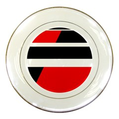 Red, white and black abstraction Porcelain Plates