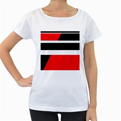 Red, white and black abstraction Women s Loose-Fit T-Shirt (White)