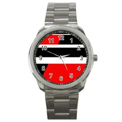 Red, white and black abstraction Sport Metal Watch