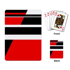 Red, white and black abstraction Playing Card