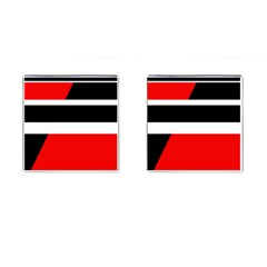 Red, white and black abstraction Cufflinks (Square)