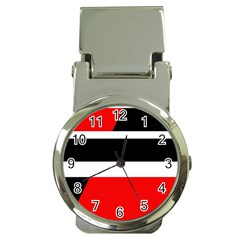 Red, white and black abstraction Money Clip Watches