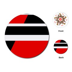 Red, white and black abstraction Playing Cards (Round)