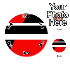 Red, white and black abstraction Playing Cards 54 (Round)
