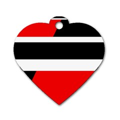 Red, white and black abstraction Dog Tag Heart (Two Sides)