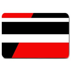 Red, white and black abstraction Large Doormat
