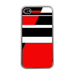 Red, white and black abstraction Apple iPhone 4 Case (Clear)