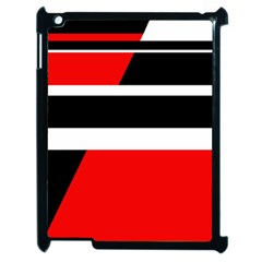 Red, white and black abstraction Apple iPad 2 Case (Black)